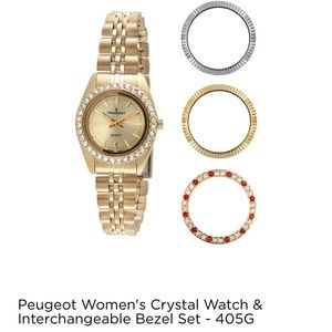 Women's Peugeot crystal watch and bezel Set